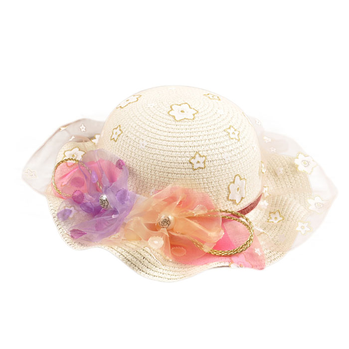 Children New and high quality Sun Protection Beach Hat Princess Tulle Bowknot Straw Shade Straw Hats<br><br>Aliexpress