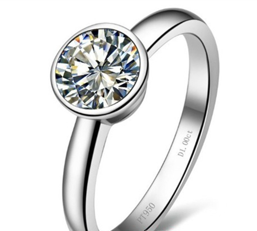 1 Carat Pure Gold 14K Lucky Round Popular Simulate Diamond Women Wedding Ring Long Time Last Quality Gold Jewelry(China (Mainland))