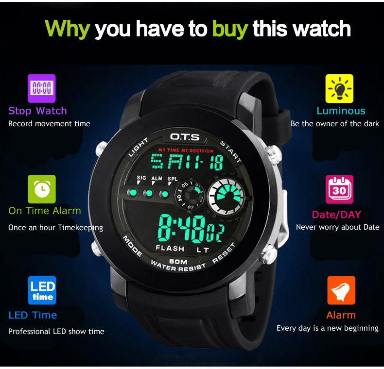 Brand OTS Men Fashion Watches Outdoor Waterproof Sports Rubber Strap LED Digital Watches Relogio Masculino Luminous wristwatches
