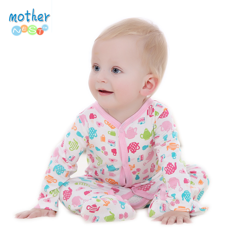 Baby Boy Girl Footies Pajamas Original Cotton Spring Sleepwear 1piece Pja Mother Nest Animal Christmas Coverall(China (Mainland))