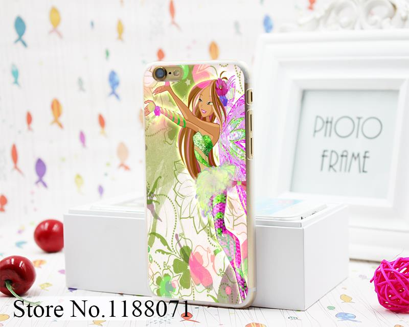 winx club vinks 7 season flora Design Hard Clear Skin Transparent for iPhone 6 6s 6+ 6 Plus Case Cover(China (Mainland))