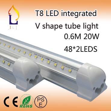25X 20W 600mm T8 LED Tube rotating Integrated V Shape 2ft Cooler Door Led Tubes T8 Integrated Led Tubes Double Sides(China (Mainland))