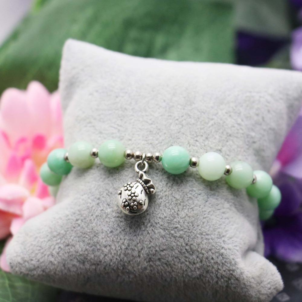 8mm Green Emerald beads Chalcedony Stone Pendant Tibet Silver Lucky bag Bracelet hand chain for women girls Jewelry Design(China (Mainland))
