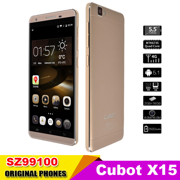 "2015 New Original Cubot X15  MTK6735  1.3GHZ Android 5.1 4G FDD-LTE 2GB 16GB 5.5"" FHD 1080x192016MP Mobile Phone Quad Core(China (Mainland))"