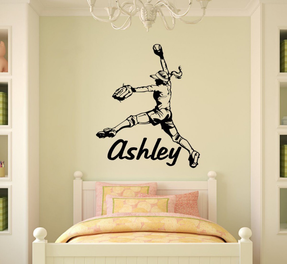 Free Shipping Personalized Name Girl Softball Pitcher Vinyl Wall Decal Wall Sticker Home Decor