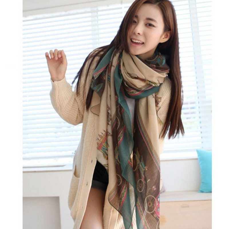 2015 Fashion Vintage Long Scarf Women Big Size Printed Soft Voile Scarves For Woman Wrap Shawl 1S010(China (Mainland))