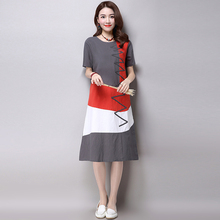 Plus Size Clothing Women Loose Casual Dress New 2016 Fashion Korean Style Patchwork Short Sleeve Cotton Linen Summer Dress H286(China (Mainland))