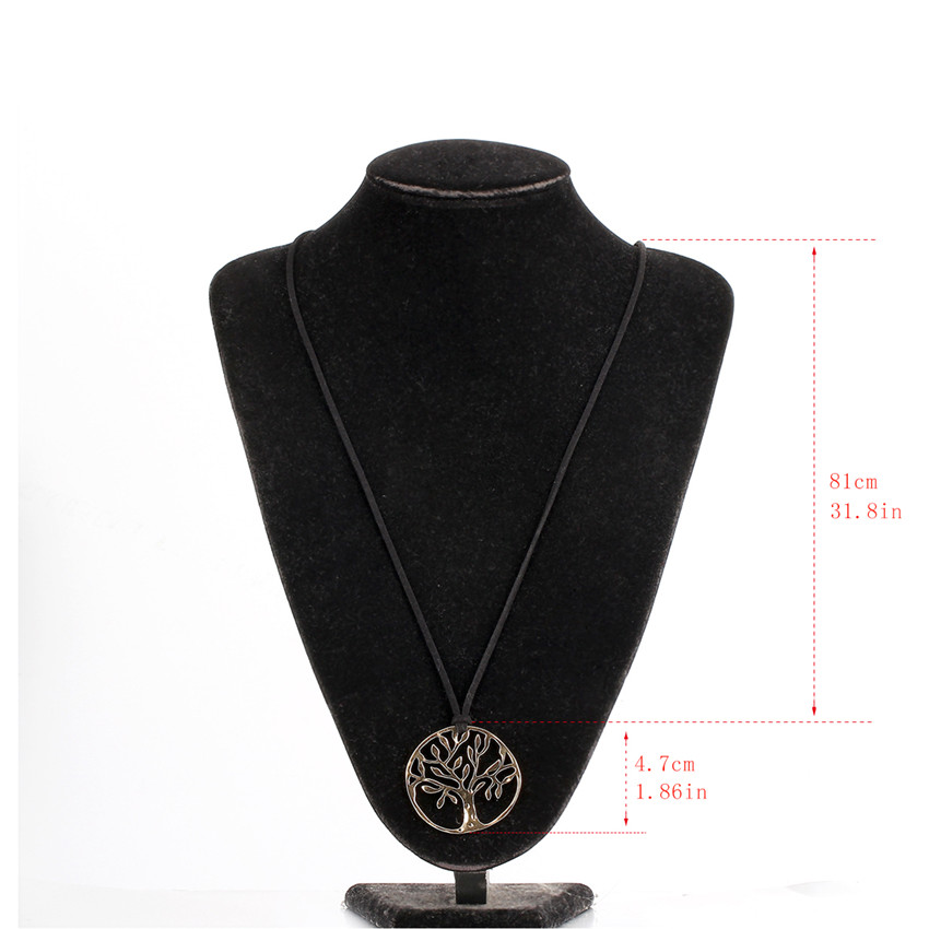 Antique Silver Bronze Tree of Life Suspension Pendant Necklace Long Black Leather Chain Costume Jewelry For Womens Girls Boho(China (Mainland))