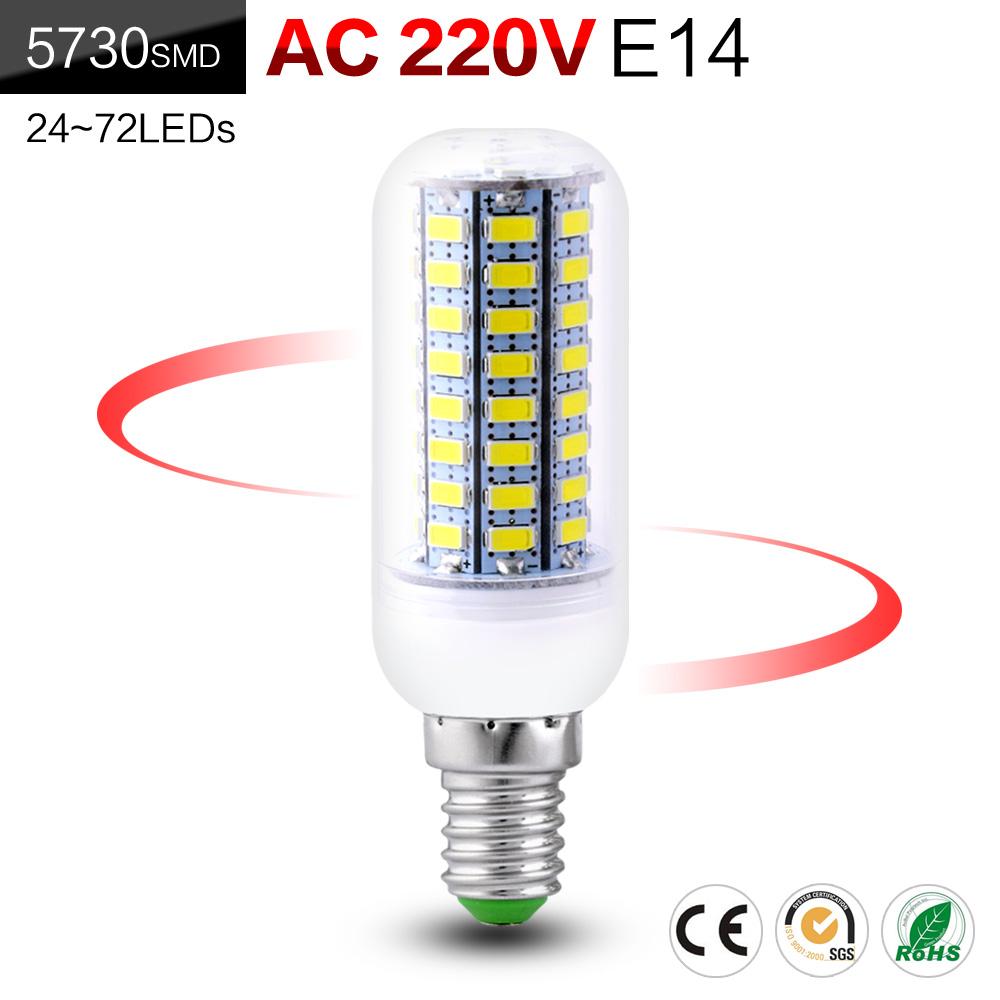 E14 24-72 leds Lights Corn 5730 220V LED Lamps Led Bulb Christmas Chandelier Candle Lighting D04<br><br>Aliexpress