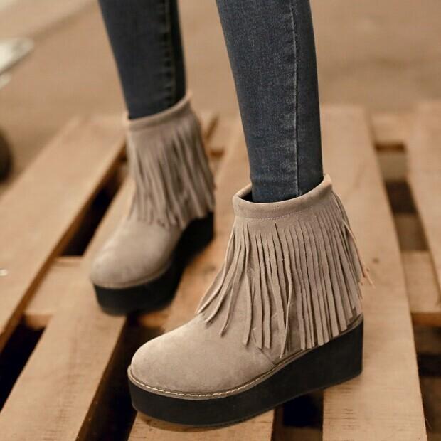 Nueva plataforma de la moda Femenina Del Tobillo botas con flecos Botas Occidentales Zapatos Grandes del