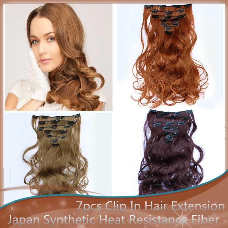 7pcs Clip In Hair Extension High Quality Material 6 Colors Synthetic Hair Extension Heat Resistance Long Wavy Clip In Hairpiece(China (Mainland))