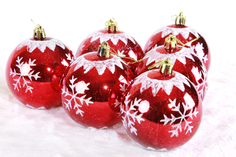 6pcs High Quality Christmas Tree Ornaments 8cm Red Snowflake colored drawing smooth Christmas balls Xmas Home Party Decor Supply(China (Mainland))