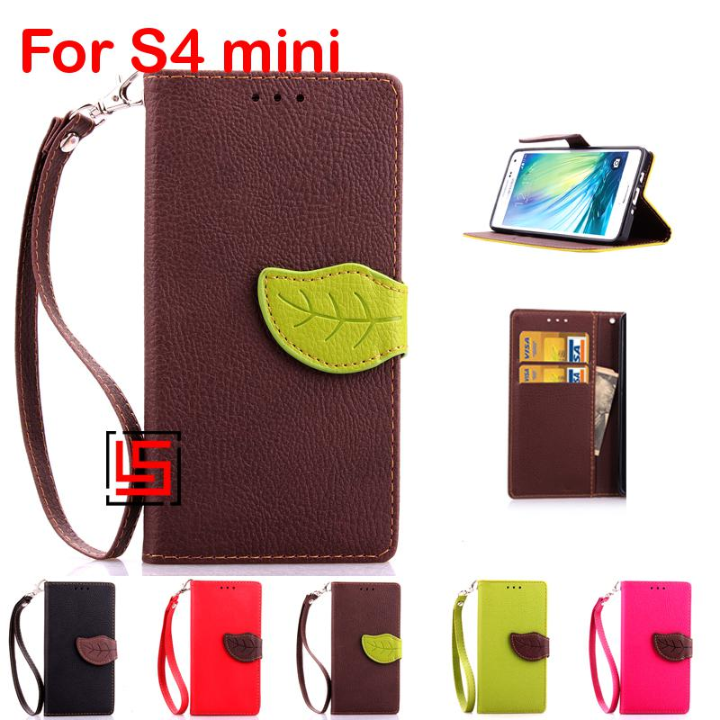 Leaf Clasp PU Leather Flip Wallet Phone Cellphone Cell Case Cover Samsung Sansung Galaxy Galaksi Gelaksi S4 mini S IV mini