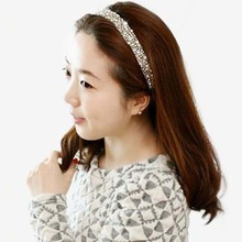 2016 Fashion Handmade Cubic Beads And Gems Elastic Hairbands Headband Party Hairband Hair Accessories Drop Shipping(China (Mainland))