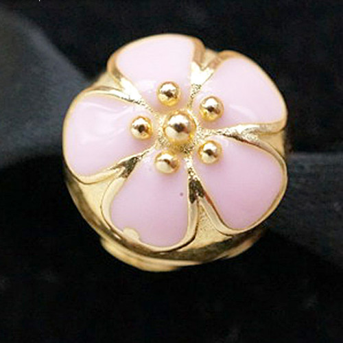 NEW 2015 S925 sterling silver 14K Gold Pink Cherry Charms Fit European Charm Bracelets necklaces & pendants CE350(China (Mainland))