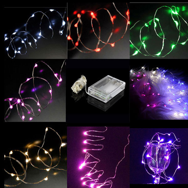 2m 20 led micro led copper wire string light aa battery operated fairy party wedding christmas. Black Bedroom Furniture Sets. Home Design Ideas