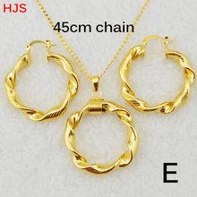 Ethlyn Dubai gold Äthiopischen halskette & ohrringe Afrikanischen sets Gold Farbe schmuck für Israel/Sudan/Arabischen/mittleren osten frauen S21(China)