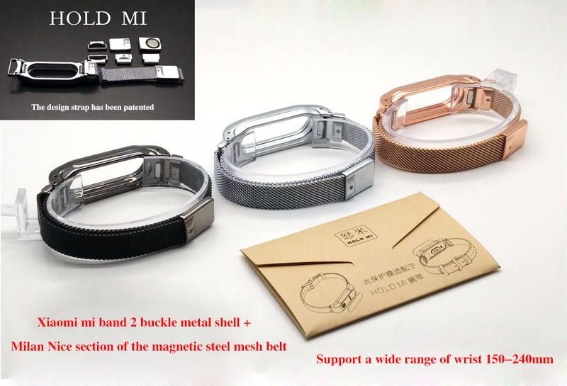Metal Strap For Xiaomi Mi Band 2 Straps Screwless Stainless Steel Bracelet for Smart wristband Replace Accessories For Mi Band 2