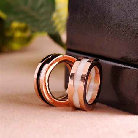 Fashion White Black Ceramic Ring Men Women Rose Gold Plate 316l Titanium Stainless Steel Couples Ring Jewelry Acessorios(China (Mainland))