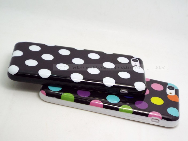 5C Polka Dot Silicon Soft TPU Cover Cases For Apple iPhone5C Case For iPhone 5C Shell 2016 Hot Sold!! High Quality Best Newest