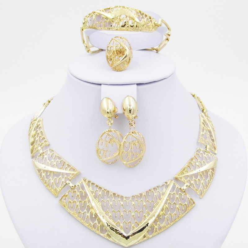 18k gold plated african wedding party bridal accessories necklace set