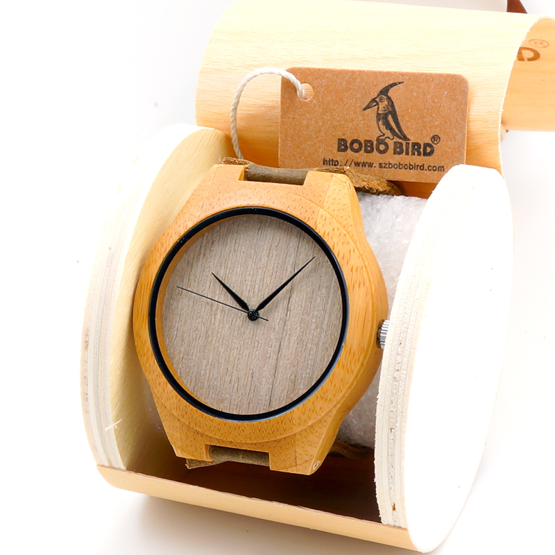 Fashion Handmade Gift Item Bamboo Wooden Watches With Genuine Cowhide Leather Strap Japan Quartz Movement 2035