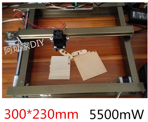 New 5500mW Large Area Mini Laser Engraver Engraving Machine Laser Cutting Printer Marking Machine Working Size 300*230mm(China (Mainland))