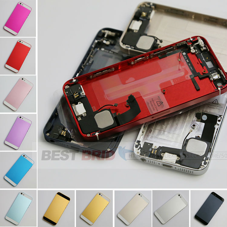 free shipping Back Cover Replacement Full Housing Assembly for iphone 5g back complete with flex cable 12 color(China (Mainland))