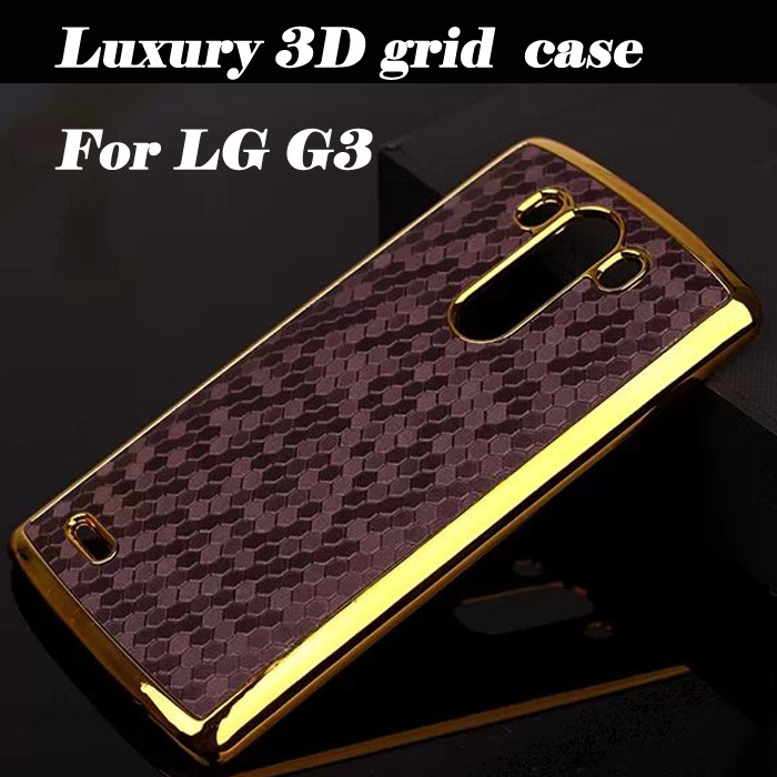 Luxury 3D Square Grid Chromed Edge Hard Case For LG Optimus G3 D855 D850 D830 D831 Plastic Mobile Phone Back Cover(China (Mainland))