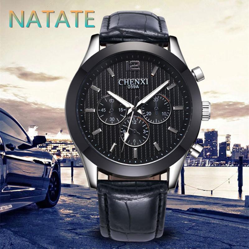 NATATE Men Fashion Luxury Brand CHENXI Rhinestone Watches Analog Quartz Fashion Design Leather strap Business Watches 1240(China (Mainland))
