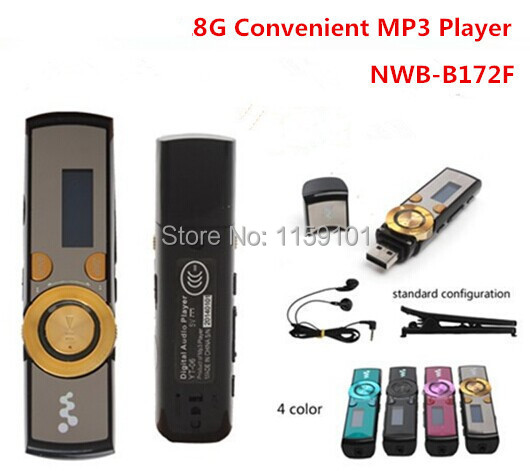 Wholesales!! 8GB MP3 Player Popular 172 digital screen USB MP3 Player With Clip 7 Colors Free Shipping(China (Mainland))