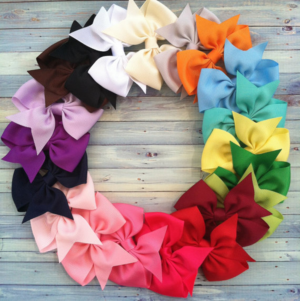 20pcs Boutique Hair Bows Baby Girls Kids Headwear Children Alligator Hair Clip Grosgrain Ribbon Hairpins(China (Mainland))