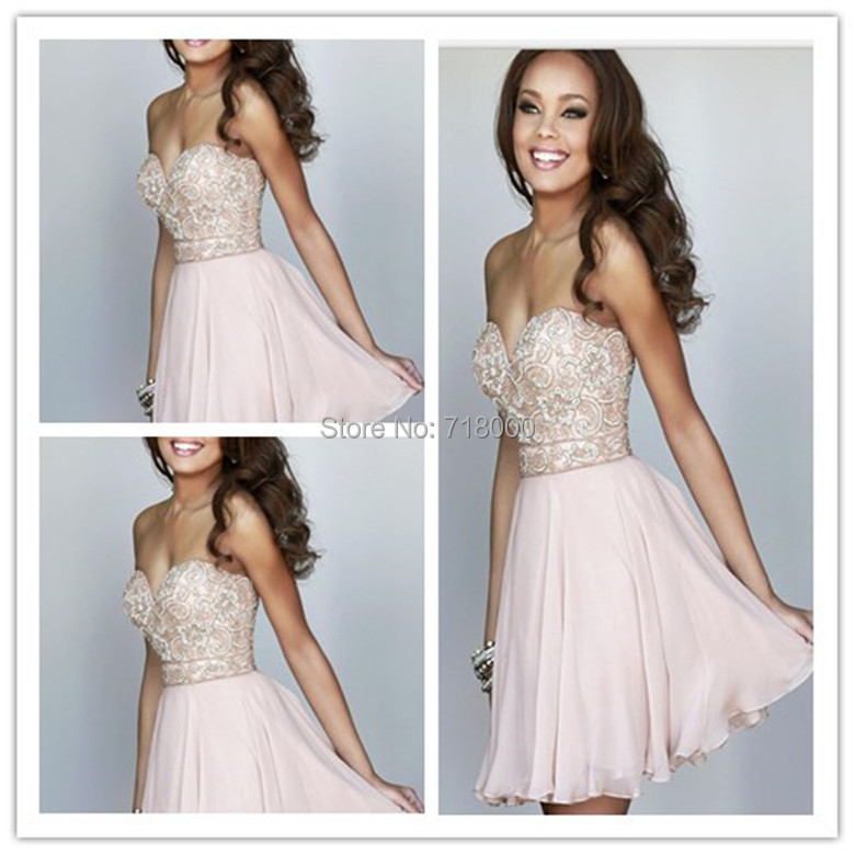 2015 New Style sweetheart beading Chiffon Pink short Homecoming Dresses Prom Gowns zipper Custom Made 1173 - Lucky-star wedding dress store