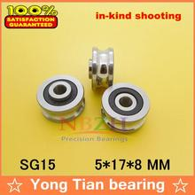 Free shipping 20 PCS SG15 2RS U Groove pulley ball bearings 5*17*8*9.75 mm Track guide roller bearing SG5RS V17(China (Mainland))