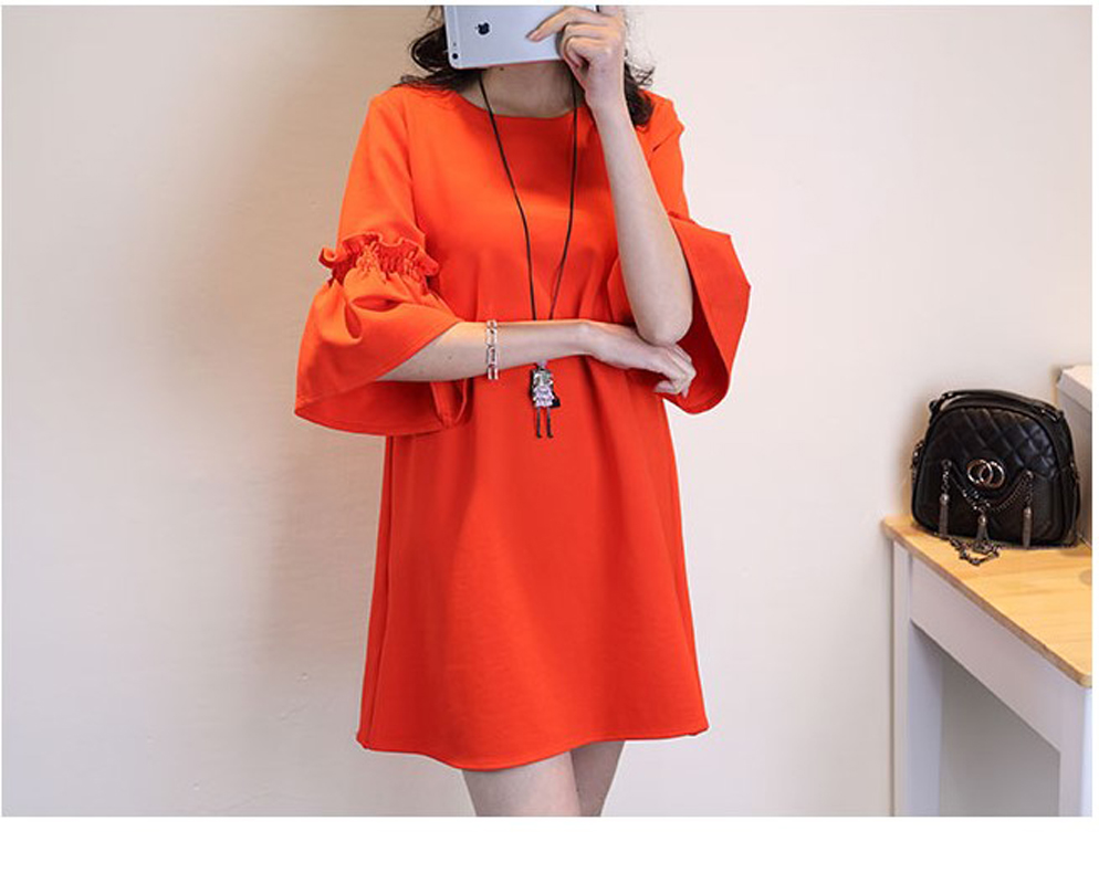 2016 New design women's fashion loose big size XL dresses girls casual summer soft nice orange flare dress slim sexy wears #H910(China (Mainland))