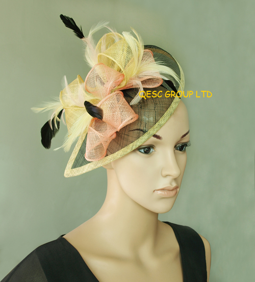 Yellow/pink/black Sinamay Feather Fascinator Hat for formal occasion.FREE SHIPPING.(China (Mainland))