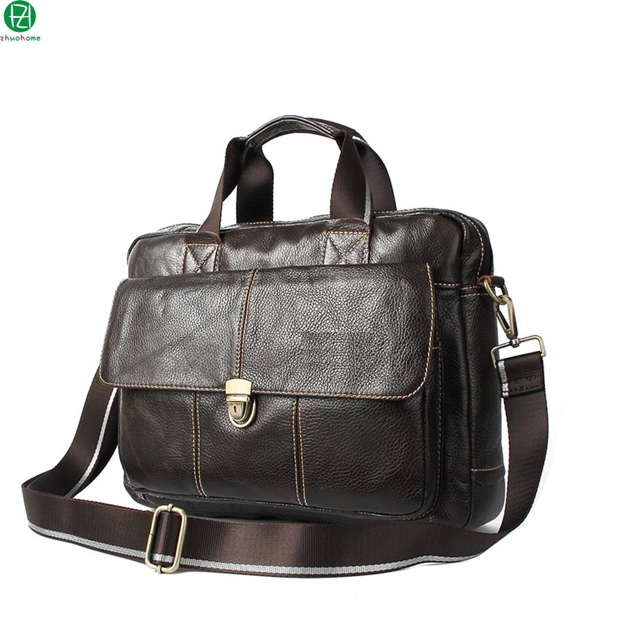 Genuine Leather Bag Men Handbags Cowhide Men Crossbody shoulder bag Men Travel messenger bags Laptop Briefcase Bag for Man