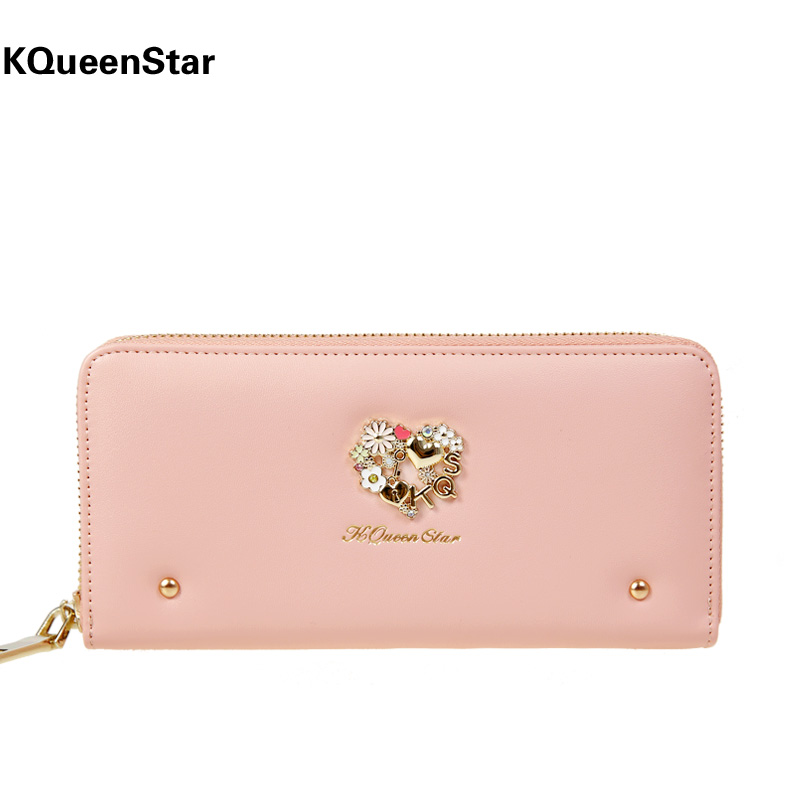 Free shipping new 2014 fashion rivet diamond lovely woman's wallet long design purse for woman travel and daily use,special gift(China (Mainland))