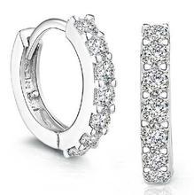 Hot sale 925 Sterling Silver Rhinestones Hoop Diamond Stud Earrings for Women Gift