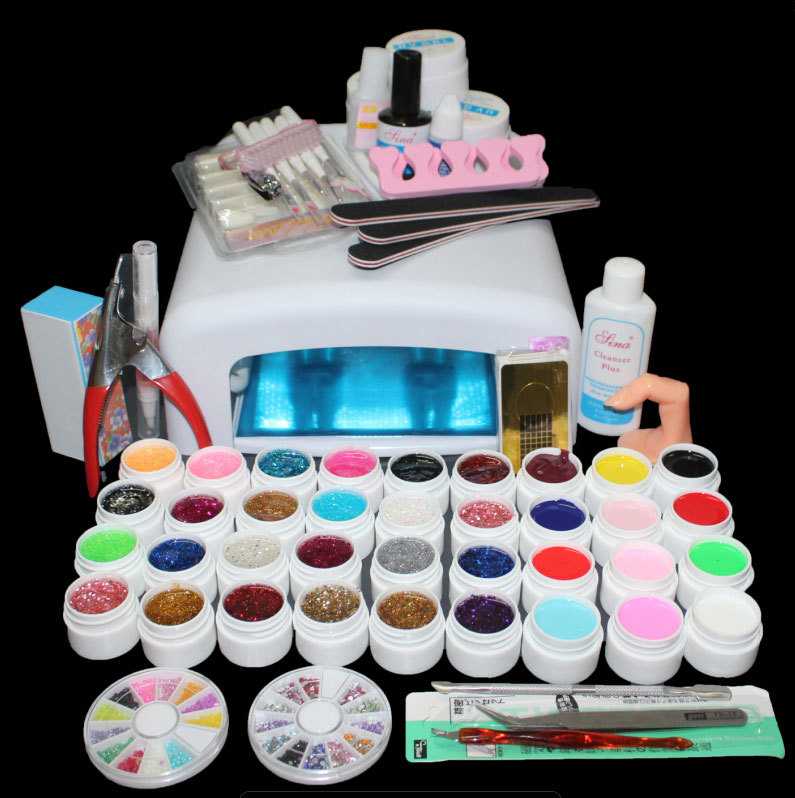 BTT-111 Free Shipping New Pro 36W UV GEL White Lamp & 36 Color UV Gel Nail Art Tools Sets Kits(China (Mainland))