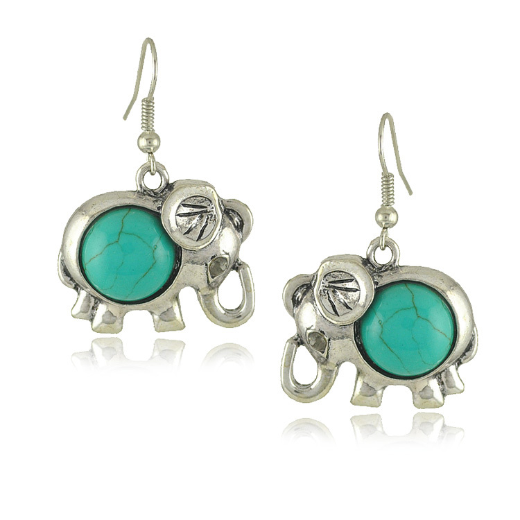 Vintage jewelry tibetan silver elephant turquoise drop earrings E1425 (Mix Minimum order is 10USD)(China (Mainland))