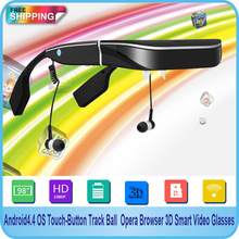Free shipping!!Full HD 1080P 98inch V-Screen Android4.4 OS WiFi Touch-Button Track Ball Opera Browser 3D Smart  Video Glasses(China (Mainland))