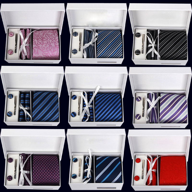 Mens Neck Tie Set Classic gents Neckties Plaid Stripe ties Cufflink Hanky tie Set Business Wedding Holiday Luxury Gift Box(China (Mainland))