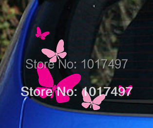 2014 New Free Shipping Pink and Hot Pink 5x Butterfly Vinyl Car Stickers ,girls car window decoration sticker for girls(China (Mainland))