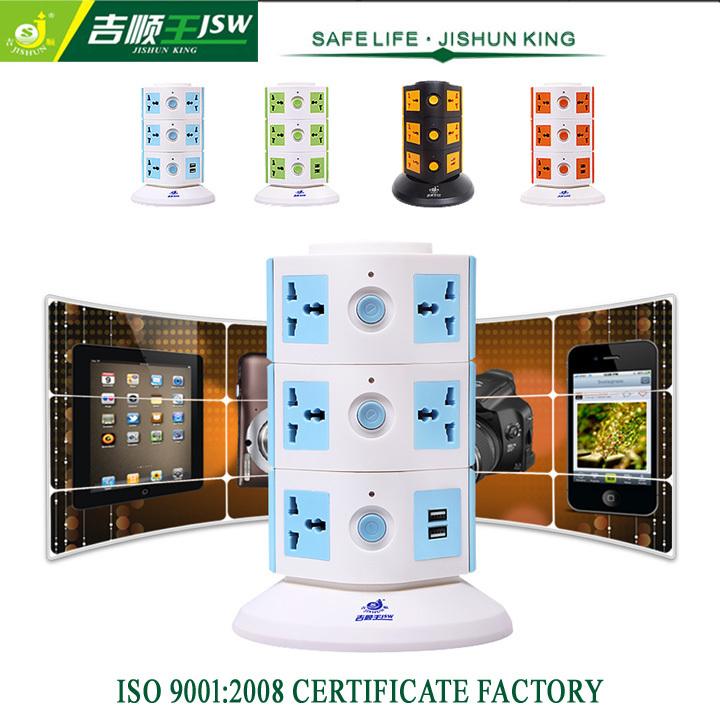 3 Floor AC Socket with USB Tower Extension Socket Universal Electrical Plug Socket Standard Grounding for EU/UK/US/AU Plug(China (Mainland))