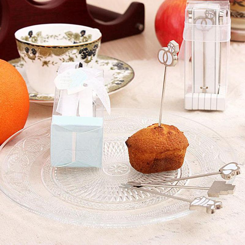 4PCS Stainless Steel Food Pick Fruit Dessert Cake Salad Forks Kitchen Decoration Gadget Table Party(China (Mainland))