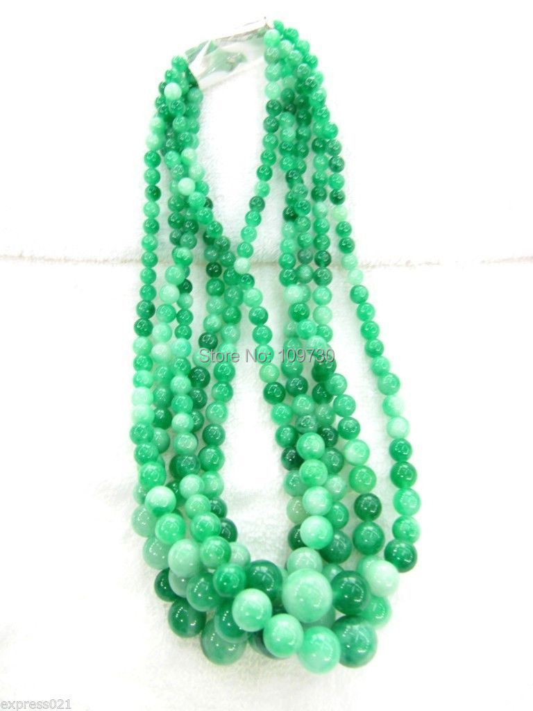 Jewelr 00426 Wholesale 5pcs Imperial Chinese Rich Green Jade/Jadeite Smooth Beads Necklace<br><br>Aliexpress