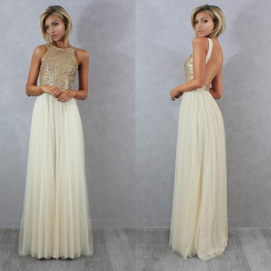 High quality champagne formals bridesmaid dresses promotion shop sexy tulle top champagne gold sequin bridesmaid dresses cheap formal party dresses 2016 long wedding party dresses ombrellifo Image collections
