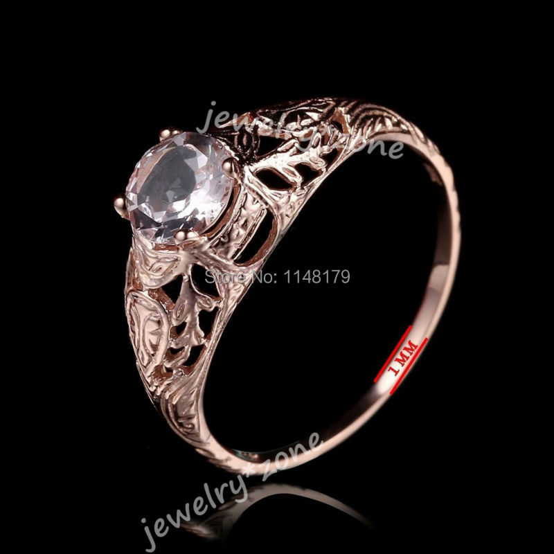 Pink 0.54ct Morganite 6mm Round Cut Vintage Art Nouveau women's Jewelry Ring Solid 14K Rose Gold Fine Engagement Fine Ring(China (Mainland))