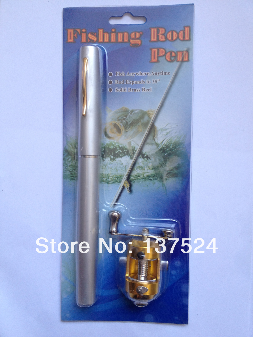 Telescopic Blue Mini Fishing Rod Pen Shape Portable Pocket Aluminum Alloy Fish Spinning Pole Reel - World's Super Store store
